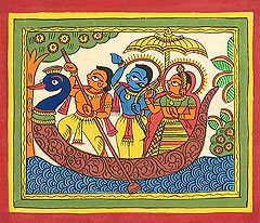 lord-rama-sita-and-lakshmana-riding-on-boat-QB65